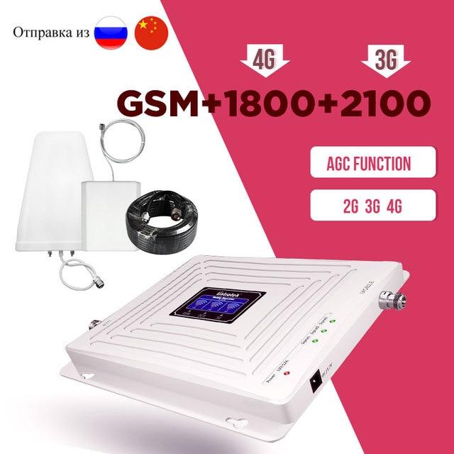 جهاز إعادة الإرسال Lintratek 900 1800 2100 الهاتف الخلوي الداعم الخلوي 2G 3G 4G إشارة مكبر للصوت الإنترنت والصوت LCD AGC ss