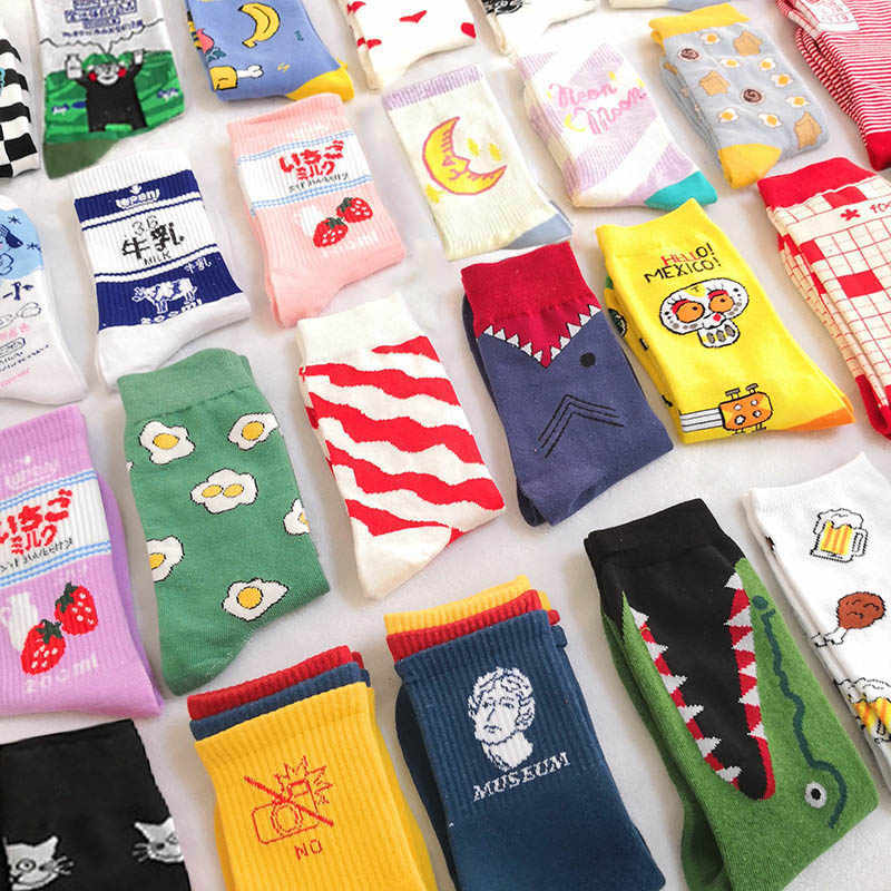 Creative High Quality Fashion Harajuku Kawaii Happy Socks Women milk Food painting Strawberry Animal Print Funny Socks Cute Sock