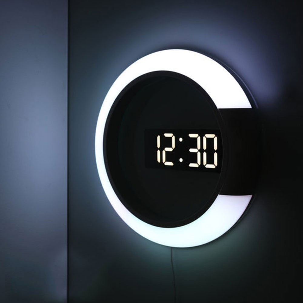 3D LED Digital Table Clock Alarm Mirror Hollow Wall Clock 7 Colors Modern Temperature Date Nightlight For Home Living Room Decor