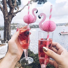 10/20PCS 3D Flamingo Drinking Straws Jungle Paper Straw Summer Pool Party Supplies Wedding Decor Adult Pink Blue Flamingo Straws(China)