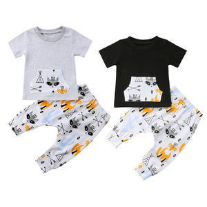 Recién nacido niños bebé niña 2 piezas ropa de dibujos animados lindo zorro camiseta Tops pantalones largos conjunto de bolsillo canguro verano lindo conjunto