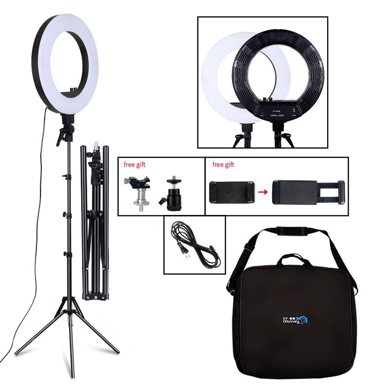 18 polegadas fotografia luz 50 w 480 pces led anel luz stepless escurecimento anel lâmpada câmera maquiagem foto/estúdio/telefone com tripé
