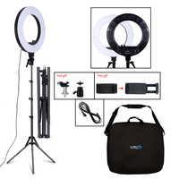 18 pulgadas Luz de fotografía 50W 480 Uds LED anillo luz continua atenuación anillo lámpara Cámara maquillaje foto/estudio/teléfono con soporte de trípode
