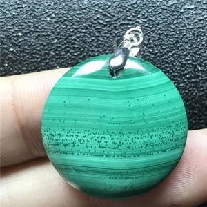 Image 5 - 24x6mm doğal yeşil malakit kolye kolye kadın için bayan erkek kristal 925 gümüş yuvarlak boncuk taş kolye takı AAAAA