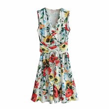 Women's Sleeveless Dress Floral Print  with Belt za New Style Chiffon Printed Flower Dresses cartoon print dress with belt