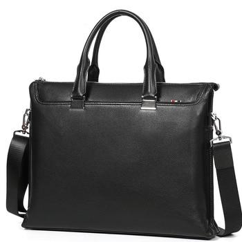 Cowhide men business bag