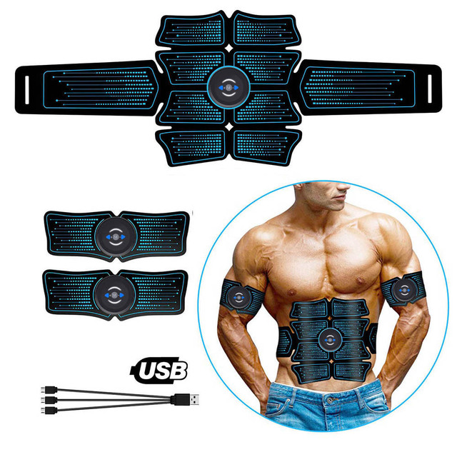 Abdominal Muscle Stimulator EMS Abs Electrostimulation Home Gym  Trainer Muscles Toner Exercise Fitness Equipment USB Charged
