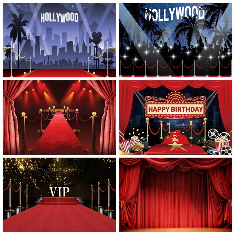 Голливудский задник для фотосъемки с красной ковровой занавеской, Летняя Вечеринка, детский день рождения, Фотофон для фотостудии