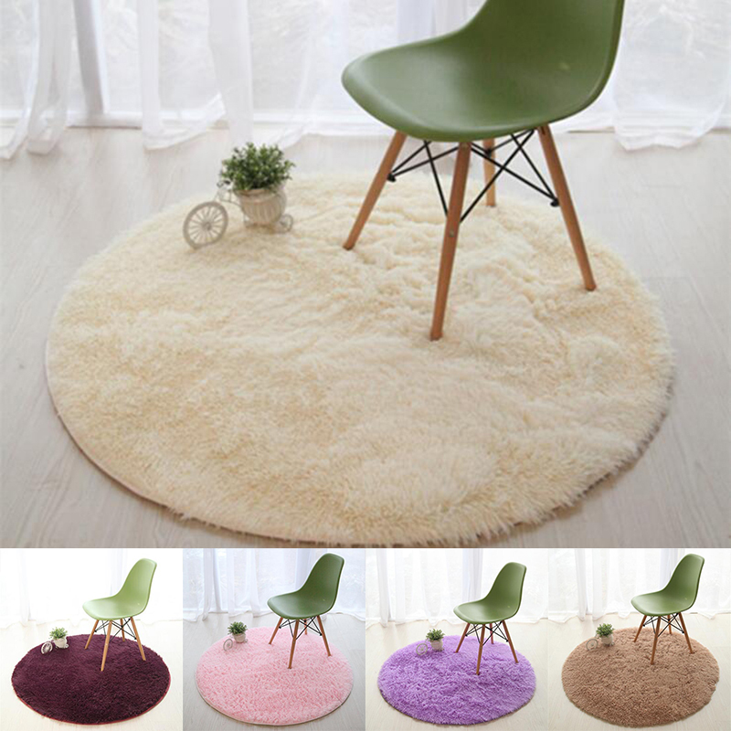 Thicken Carpet Round Floor Chair Pat Mat Plush Bedroom Area Shaggy Fluffy