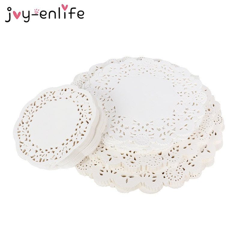 200pcs Round Lace Flower Paper Biscuit Decoration Cones Candy Gift Wrap Coasters Placemats Wedding Decoration Birthday Party
