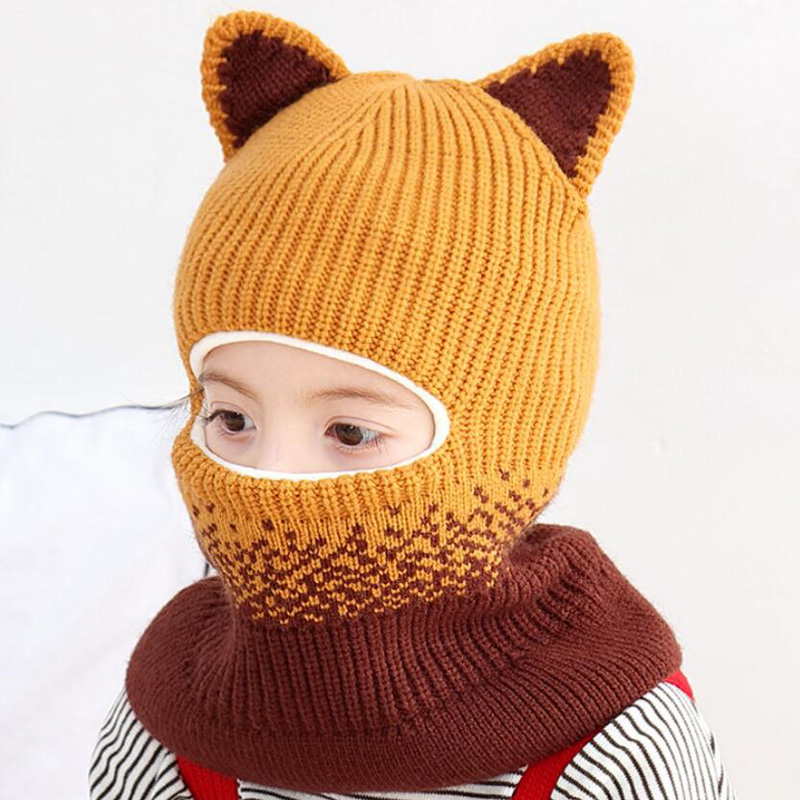 2019 New Knitted Beanie Hooded Scarf Kid Hat And Scarf Child Winter Warm Short Plush Ear Cap Circulal Scarves Girl Accessories