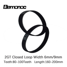 GT2 Closed Loop Timing Belt Rubber 2GT 6/9mm 3D Printers Parts 160/166/170/172/180/186/188/190/192/194/200 mm Synchronous Belts