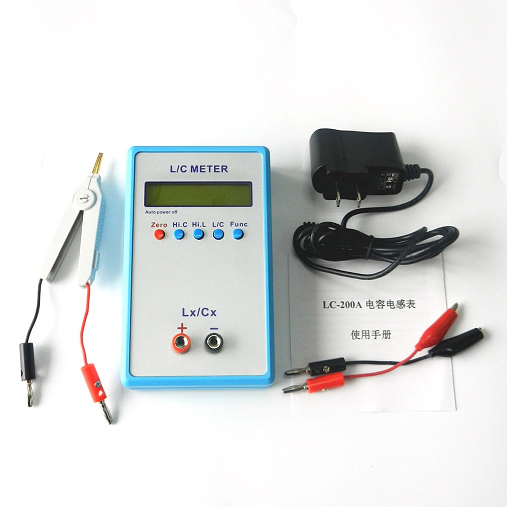 Digital LCD Capacitance LC Meter LC200A Inductive Inductance Tester Inductor Capacitor Table 1pF 100mF 1uH 100H with Test Clip|Energy Meters| |  - title=