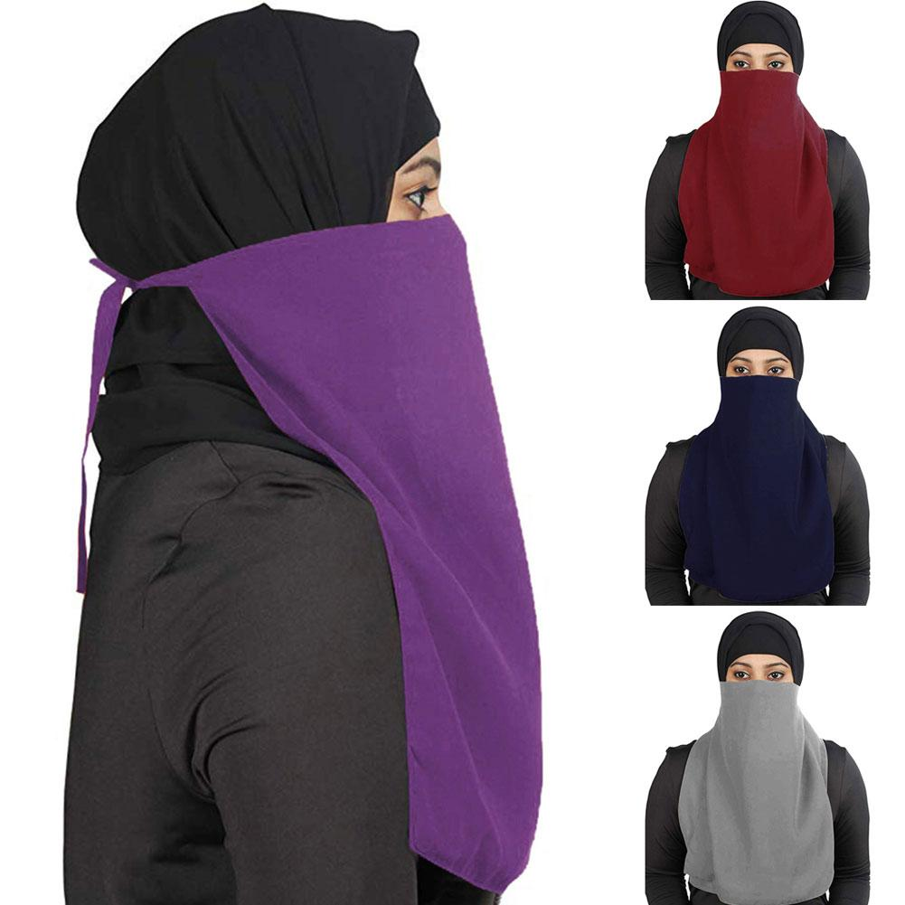 Solid Color Arab Muslim Women One Layer Niqab VeilIslamic Face Mask Cover Scarf Crinkle Hijab Soft Cotton Headscarf Shawls