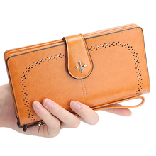 купить High Quality Designer Zipper Long Wallet Brand Leather Women Wallets Women Card Holder Ladies Purse Money Bag Carteira Feminina по цене 390.05 рублей