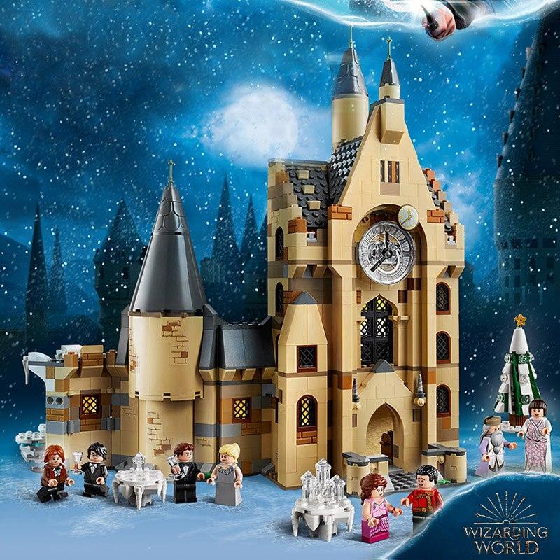 Nouveau 900 pièces Potter film Serices H horloge tour ensemble modèle blocs de construction briques enfants jouets noël cadeau 75948