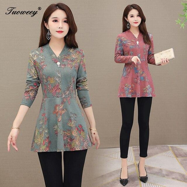 5XL Autumn Chiffon Blouse Shirts Casual floral Loose elegant v neck long Sleeve Floral Print Tops blusas blouse 2020 women 2