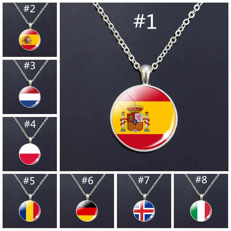 Europe National Flag Long Necklace France Italy Spain Poland Netherlands Ireland Country Flag Necklace Glass Cabochon Jewelry