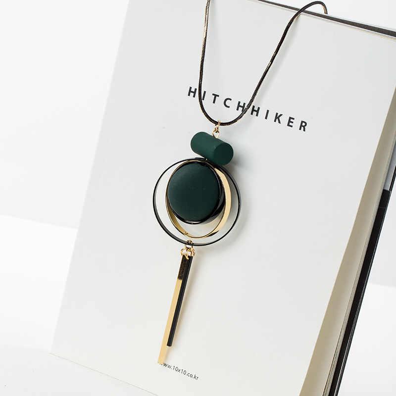 Collar de cadena con borlas Vintage para mujer, accesorios de joyería hechos a mano de madera geométrica Bohemia