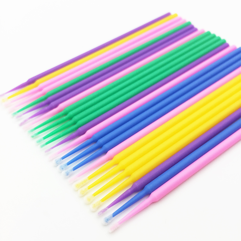 Hot 100pcs Disposable Colorful Cotton Swabs Eyelash Brushes Cleaning Swab Eyelashes Remover Tattoo Microbrush Makeup Tools Sets