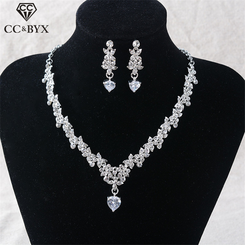 CC Necklace Stud Earrings Jewelry Sets Pendant For Women Luxury Wedding Accessories Bridal Shine Crystal Water Drop Shape TL241