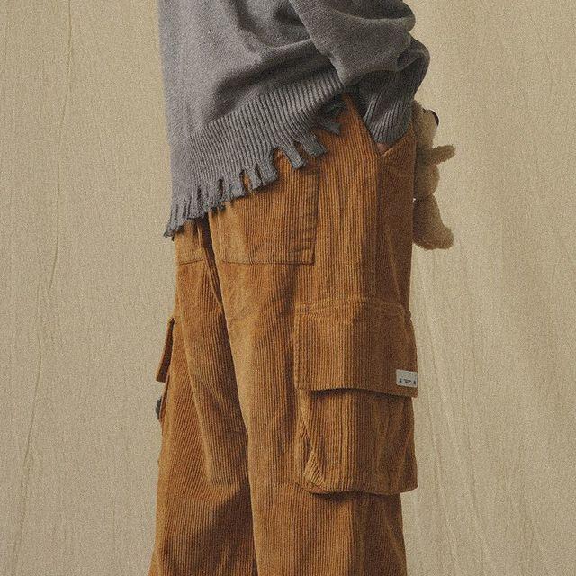 QWEEK Japanese Streetwear Corduroy Pants Women Vintage Brown Cargo Pants Pockets Oversized Korean Style Wide Leg Trousers Female 4