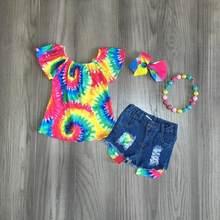 Short en jean déchiré pour bébés filles, vêtements d'été pour enfants, boutique, nœud teint, top dégradé de couleur, accessoires assortis