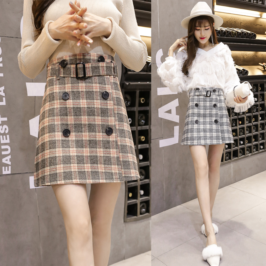 Photo Shoot 2017 Autumn And Winter New Style England College Style Plaid Double Breasted Skirt A- Line Skirt Belt Included