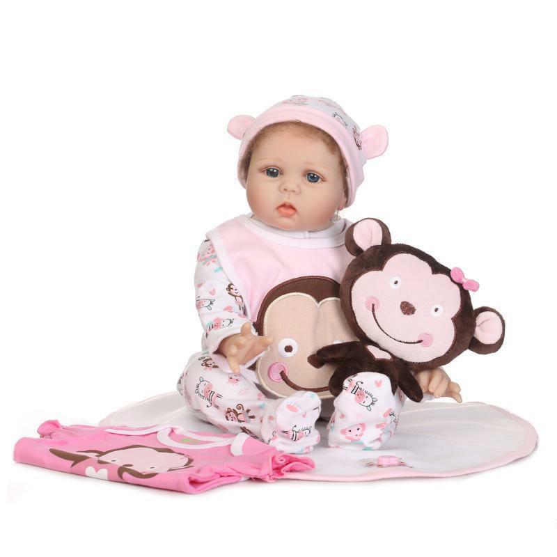 Alive Handmade Girl Monkey Cloth Body 22'' Reborn Baby Dolls Silicone Vinyl Gift Silicone Reborn Baby Dolls