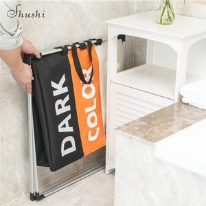 Image 4 - Shushi Waterproof home laundry Basket oxford collapsible laundry basket metal dirty cloth storage Portable laundry organization