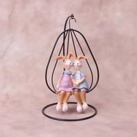독특한 귀여운 철 인형 미니어처 키즈 룸 데스크탑 장식 장식품 홈 장식 액세서리에 대 한 수 지 토끼 공예