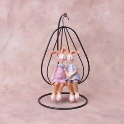 Unikalne śliczne żelazne figurki miniaturowe dzieci pokój pulpit ozdoby do dekoracji królik żywiczny rzemiosło do dekoracji wnętrz akcesoria w Figurki i miniatury od Dom i ogród na