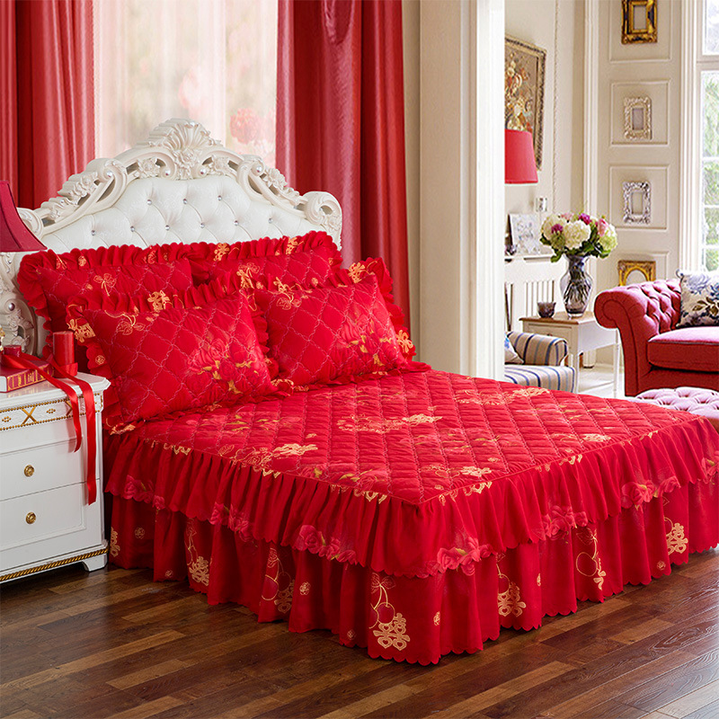 24 Colors Bed Skirt 3 Pcs Thickening Of Cotton-padded Beding Sets With Two Pillowcases Bedspread Queen King Size Bed Skirt Cover