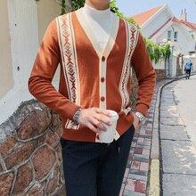 Sweater Men Clothing Winter Casual Fashion V-Neck Autumn Cardigan Slim-Fit Long-Sleeve