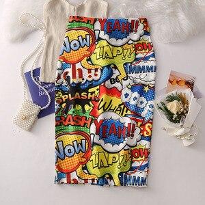 Image 3 - Phụ Nữ Bông Tai Kẹp Váy Bút Chì Nhiều Màu Sắc Hình Hoạt Hình Yeah!! Chữ Cái In Cao Cấp Mỏng Midi Chia Gợi Cảm Nữ Falda SP532