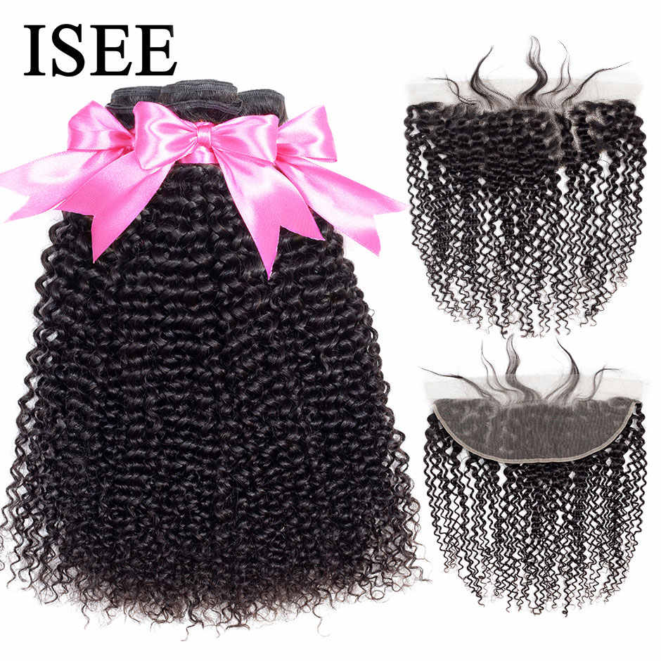 ISEE HAIR Mongolian Kinky Curly Bundles With Frontal 13*4 Lace Frontal With Hair Bundles Remy Human Hair Bundles With Closure