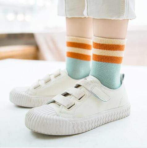 meninas de algodao meias grande tarja criancas meias