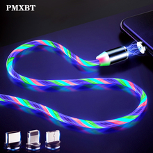 LED Glow Flowing magnetic usb cable Charge Type C Micro USB 8 Pin Charging Cable for iPhone 7 Samsung A50 Charger Phone Cables