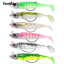 FeelFun 3pcs/lot Soft Fishing Bait 10cm/16g 12cm/26g DIY Lead Head Jig Fish T Tail Sea Bass Lure Tackle Lures
