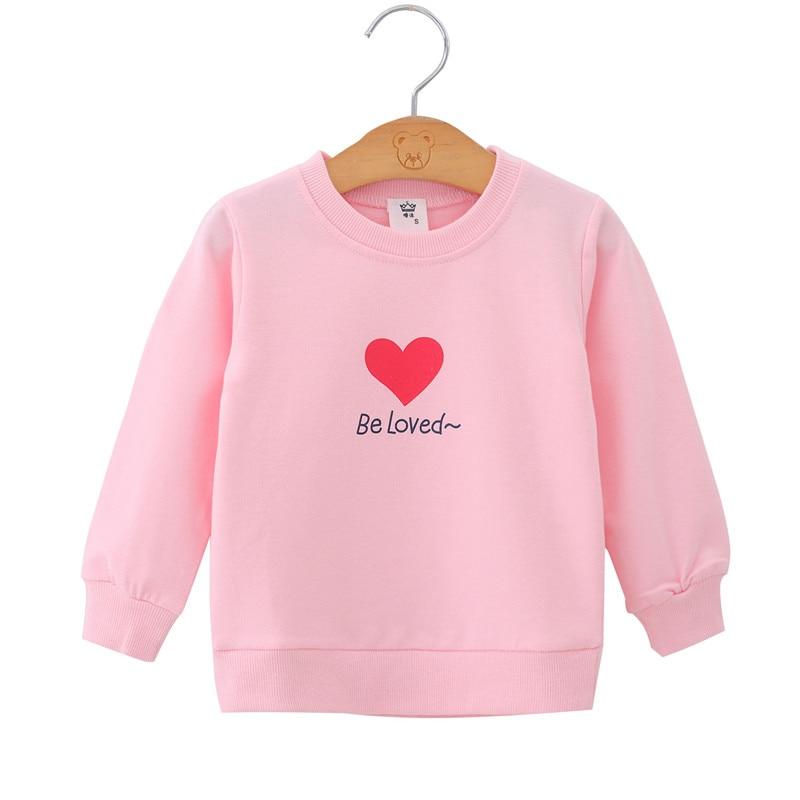 Autumn Winter Children Kids Baby Girls Heart Print Sweatshirts Long Sleeves Sweater Baby Girl T-shirt Clothes Pink Sweatshirt
