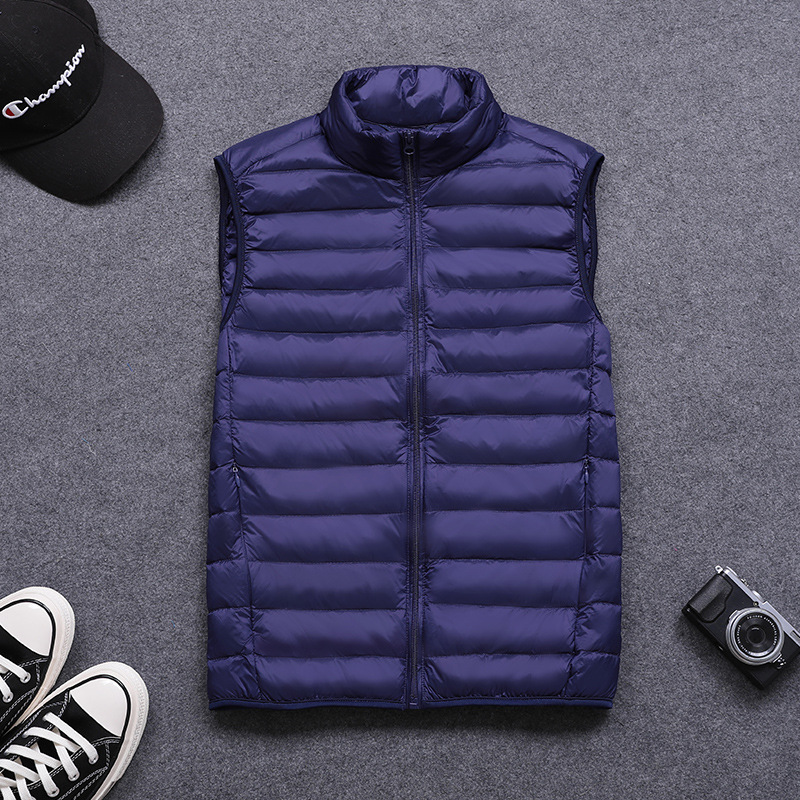 Jacket Vest Ultralight Loose White Winter Fashion Sleeveless New Gb15268-Kg 74cm Stand-Collar