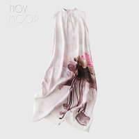 Novmoop elegant hand painting Lotus style women summer autumn stand collar split natural silk dress vestidos de verano LT3109