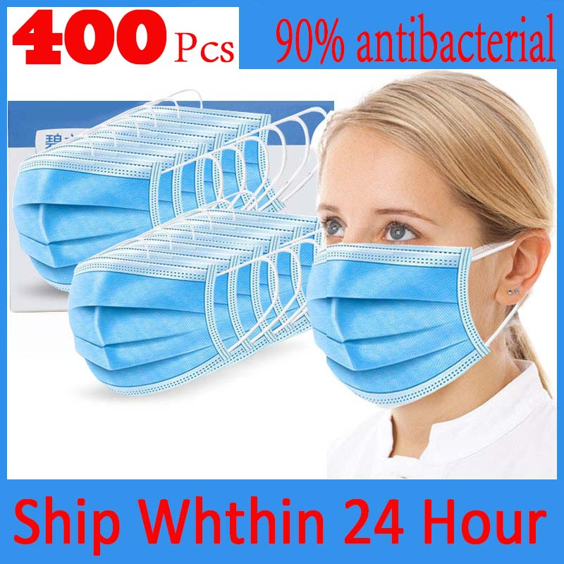 400/200/100/50Pcs 3 Layer Hygiene Face Mask Disposable Protective Safety Masks Anti-Dust Anti Pollution Non-Woven N95 Mouth Mask image