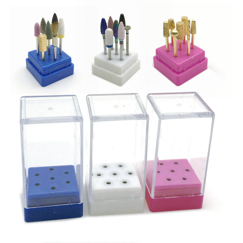 7 Holes Nail Drill Bit Holder Display Standing With Cover Storage Box Dental Burs Holder Dental Storage Box