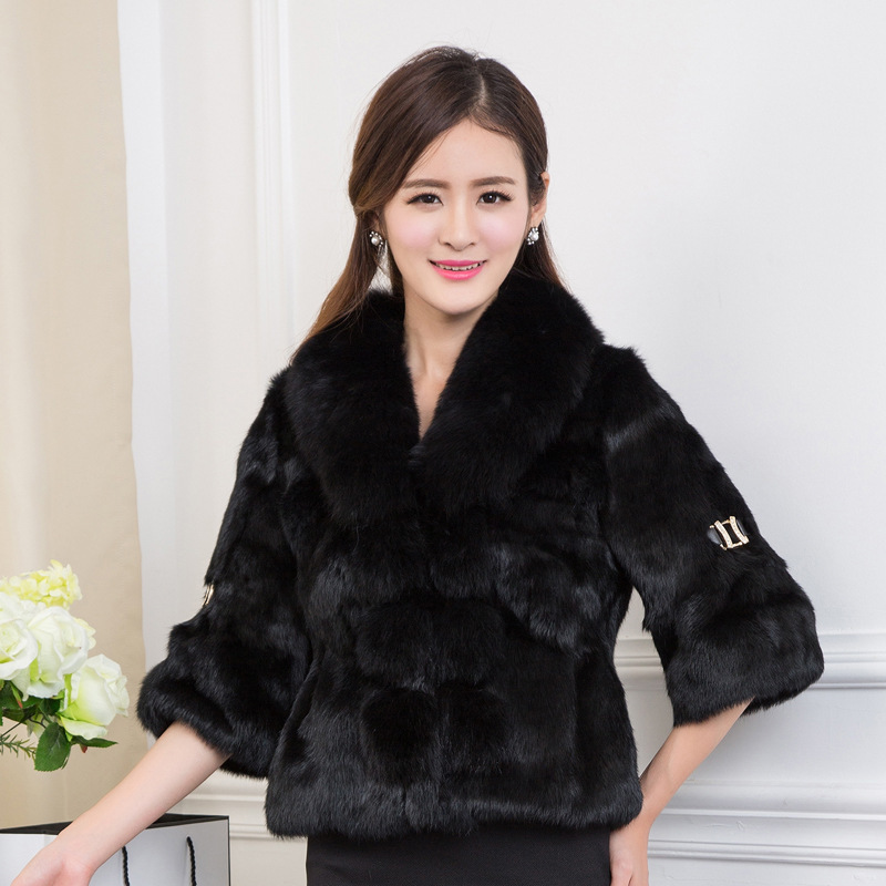 Natural New 2020 Fox Fur Collar Real Fur Coat Female Full Pelt Rabbit Fur Coats Women Winter Warm Jacket Overcoat WYQ829 S