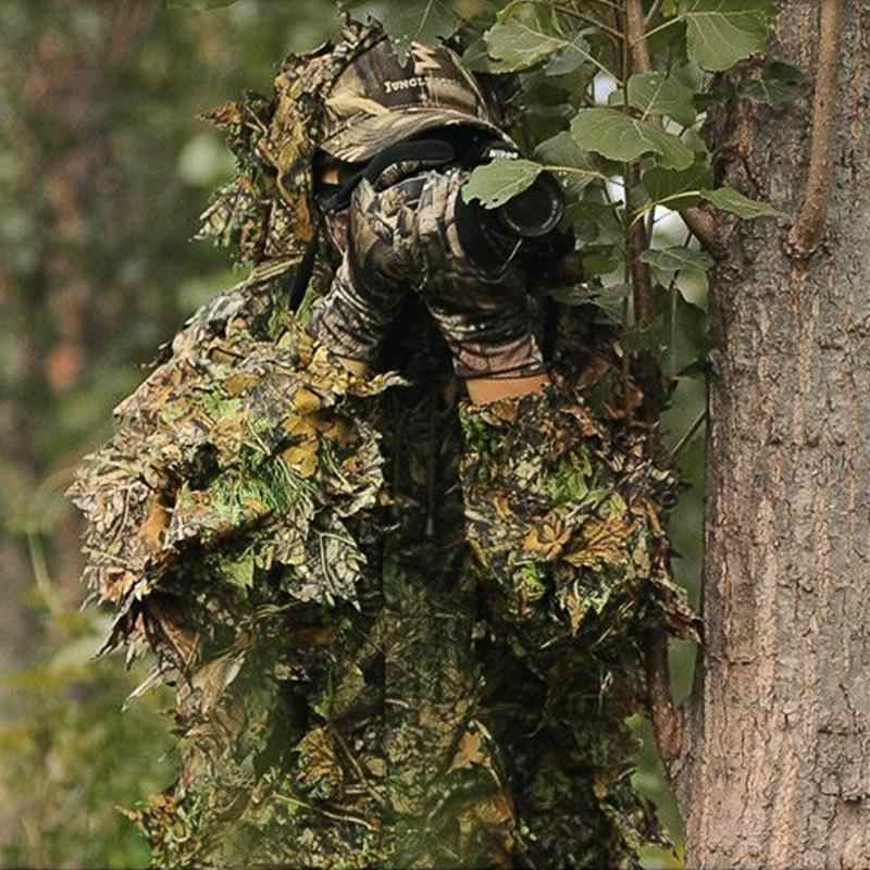 New 3D Maple Leaf Hunting Sniper Bird Airsoft Camouflage Jacket Pants Bionic Stereo Camouflage Training Suit
