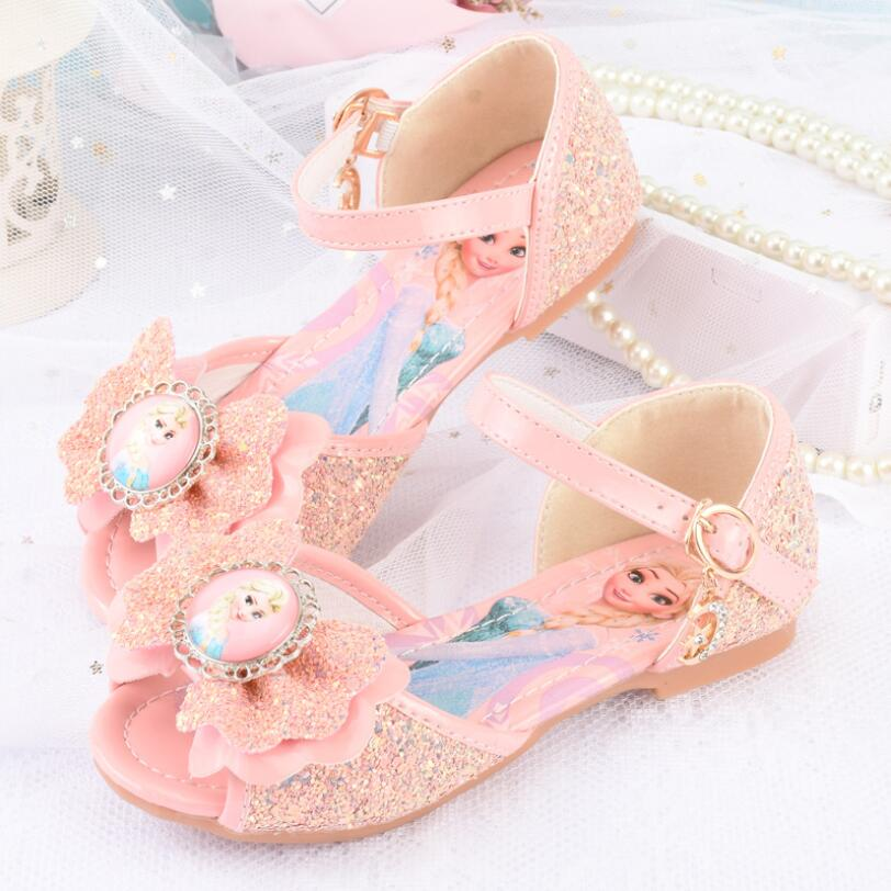 Kids Girls Wedding Dress Shoes Children Elsa Princess Shoes Bowtie Purple Pink Blue Leather Shoes For Girls Casual Shoes Flat