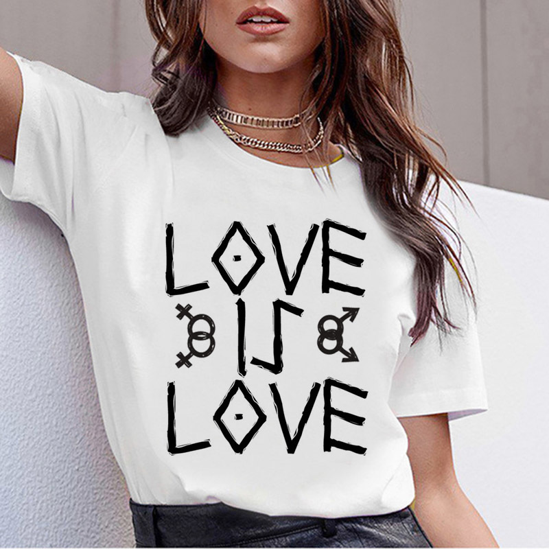 T Shirts For Women New Gay Pride Tshirt Female Love Lesbian Rainbow T-Shirt Love Is Love T-shirt Summer Harajuku Top Tee