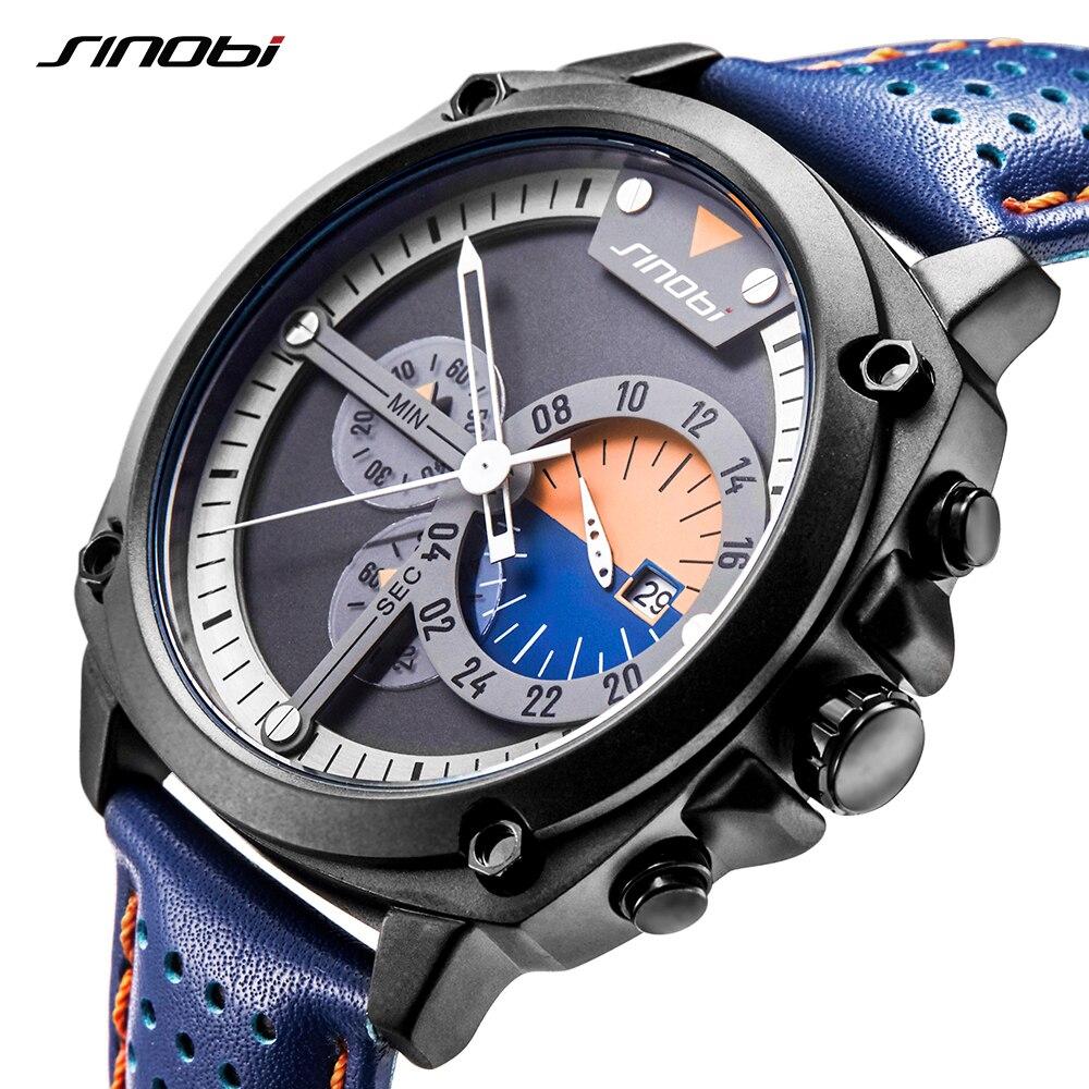 SINOBI Mens Chronograph Watches Military Watch Men's Army Clock Japanese Movement Sports Quartz Wristwatches Relogio Masculino