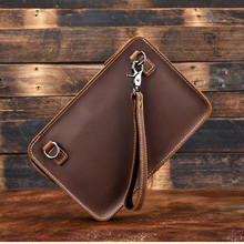 Hot Selling Natural Crazy Horse Leather Men's Clutch Bag